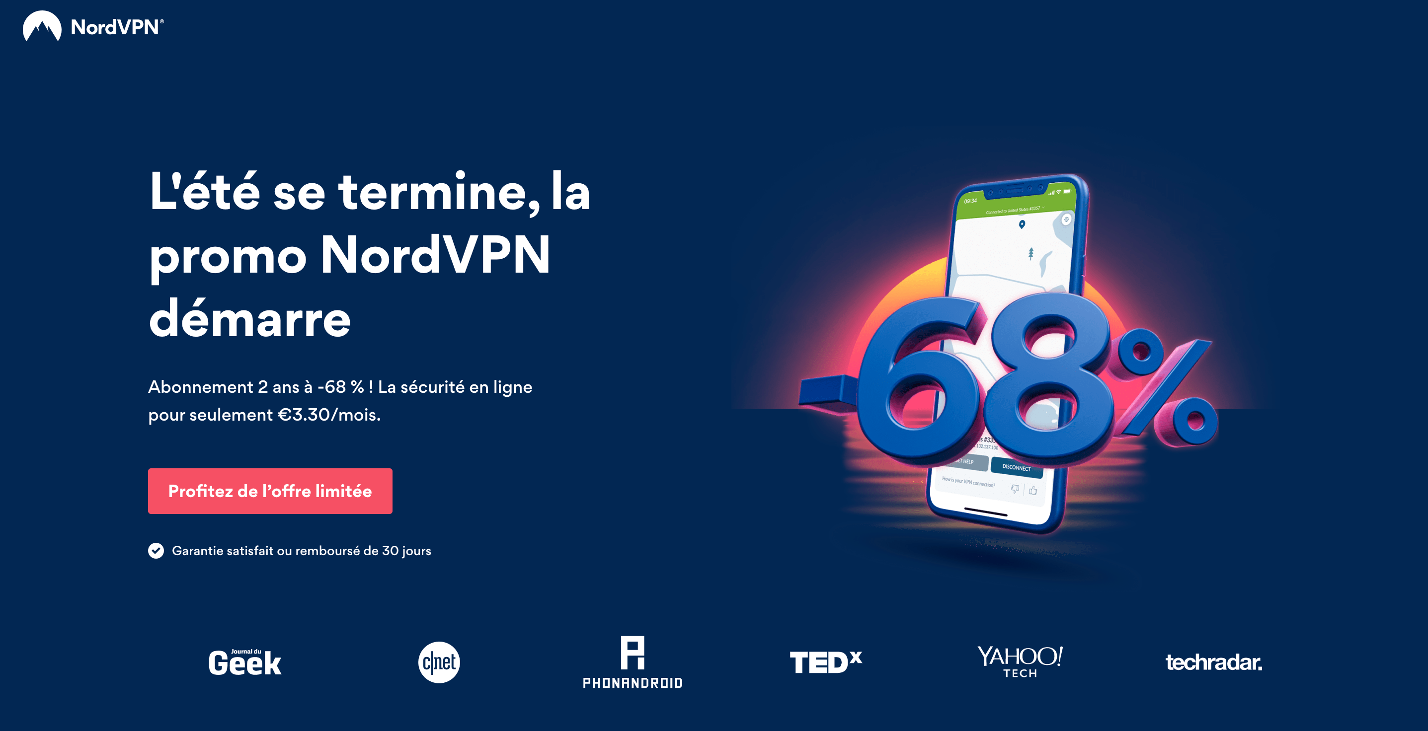 NordVPN en promo à -68% avec le code notabenedeal