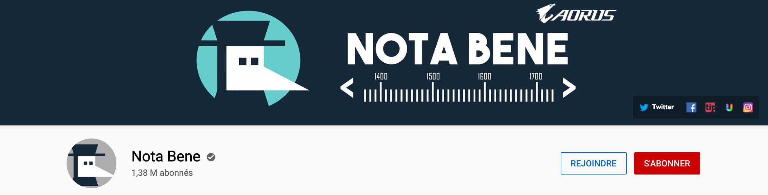 Chaîne Youtube de Nota Bene.