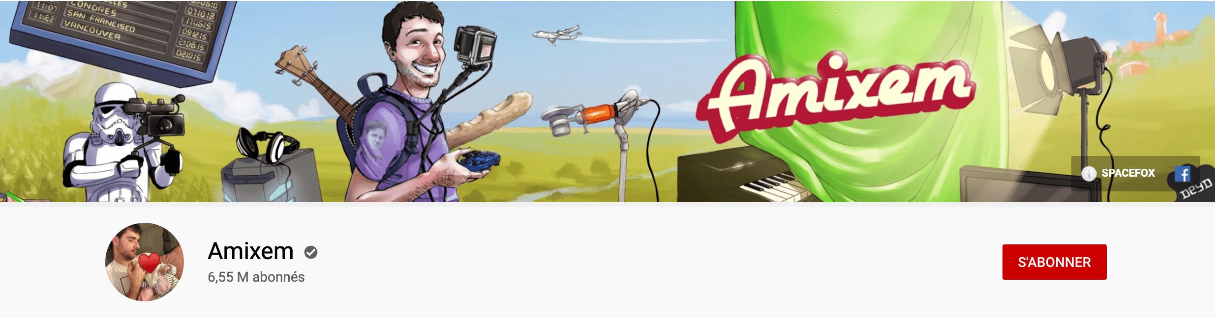 Bannière youtube d'Amixem