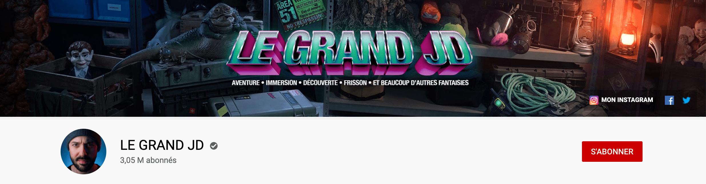 Bannière youtube du Grand JD