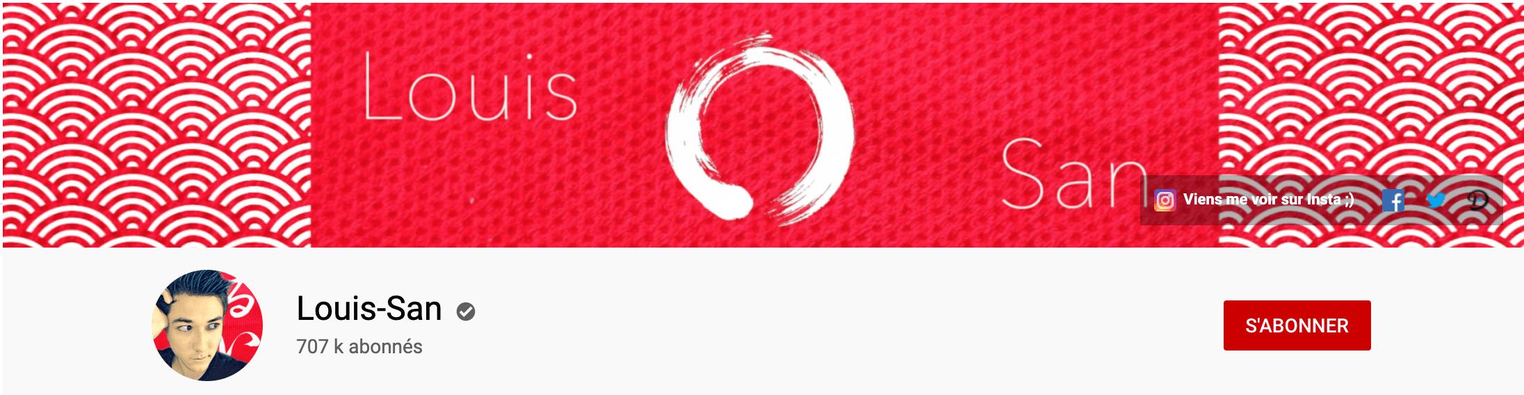 Bannière youtube de Louis San