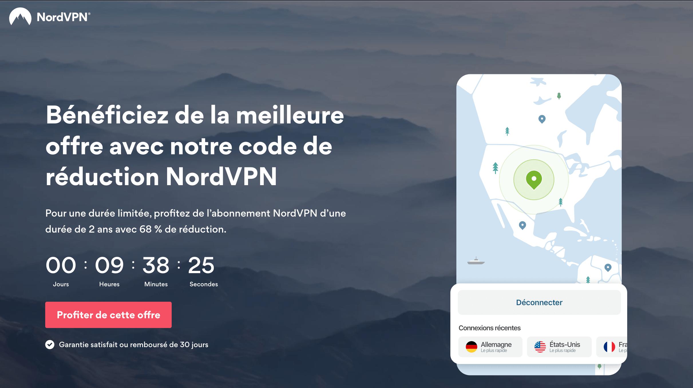 NordVPN à -68% pendant 2 ans.