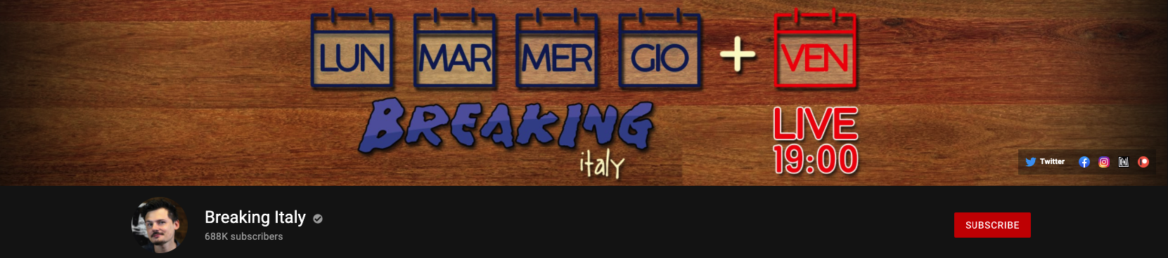 Breaking Italy Youtube Channel Banner