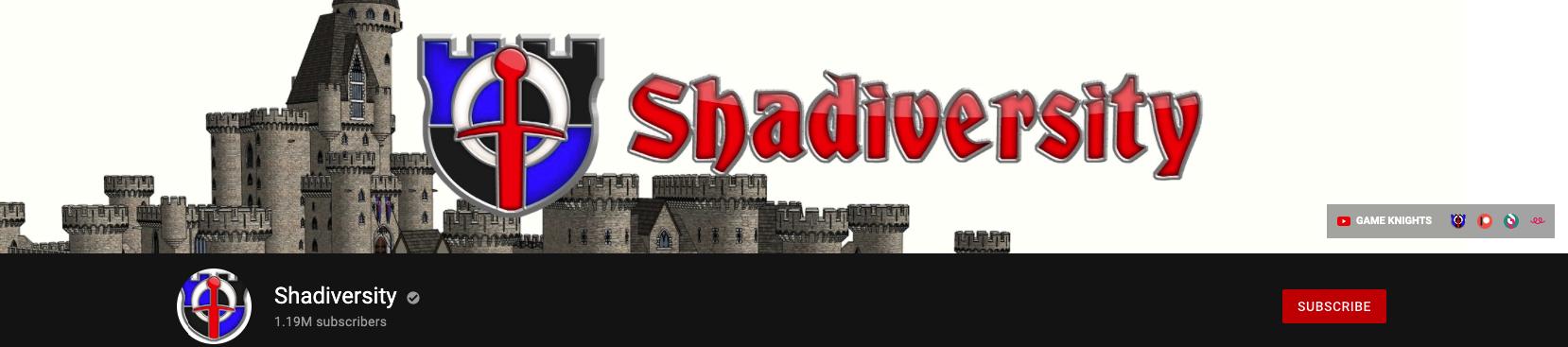 Shadiversity banner on YouTube