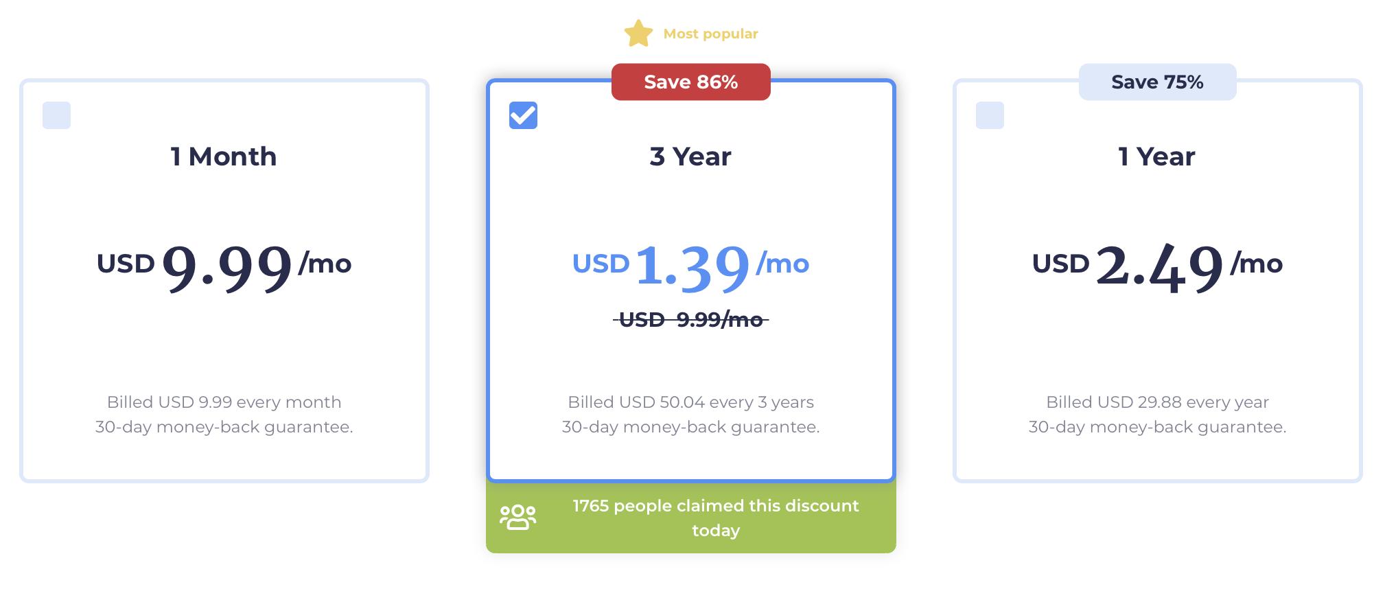 Atlas VPN pricing page